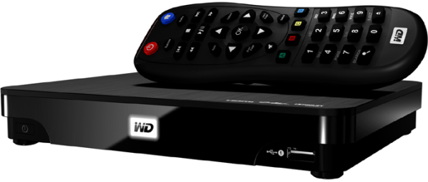 WD TV Live Hub front isometric with remote