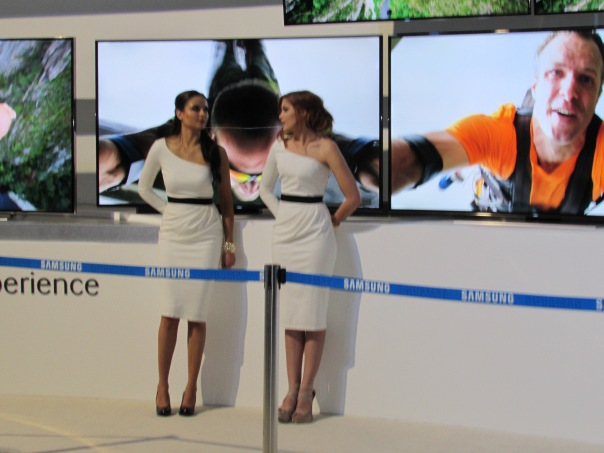 Sorry ladies. When you are next to an Ultra HD Curve 4K TV your kinda in the way...just saying..
