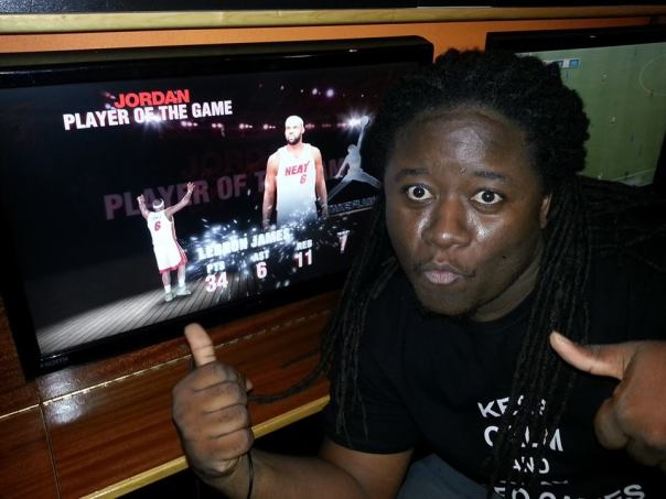 Just won his first NBA2k14 game on the PS4!