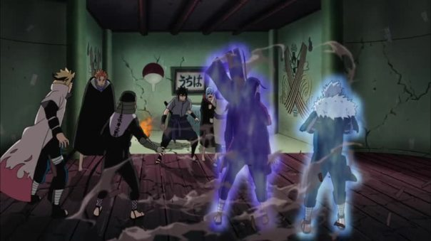 The Older Brother had to calm Tobirama down. Told him to put that finger down. LOL the whole finger buddy. Epic.