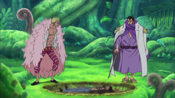 Doflamingo standing against all that pressure.