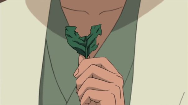 Madara listened to the conversation between Tobirama and Hashirama while talking about Madara. The broken leaf signify the begining of the end of a friendship that could of been so much more..