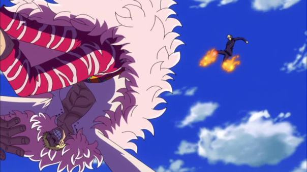 Dude didn't even bruise Doflamingo with his Haki/flaming kick. Seriously what is Doflamingo on...