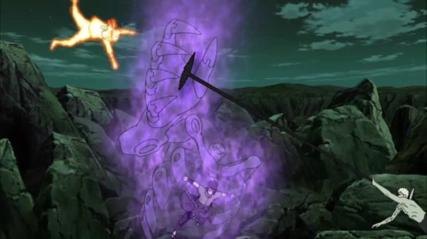Yep he try to attack Naruto and look ting the douch bag Sasuke protected him..
