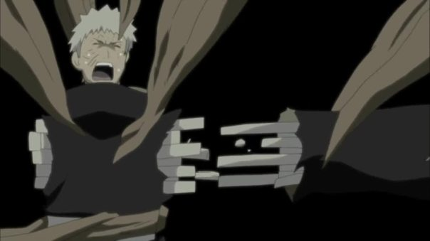 Obito losing himself to the Ten Tails. Painful process....