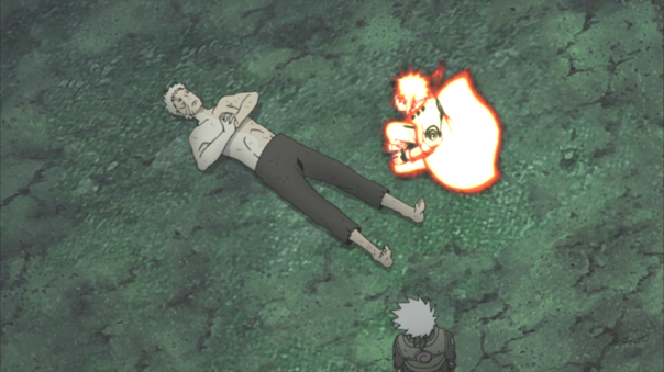 Yep Obito doing what he does best...on his back